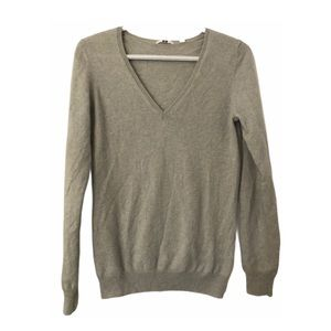 Uniqlo 100% Cashmere V Neck Sweater Gray/Blue M